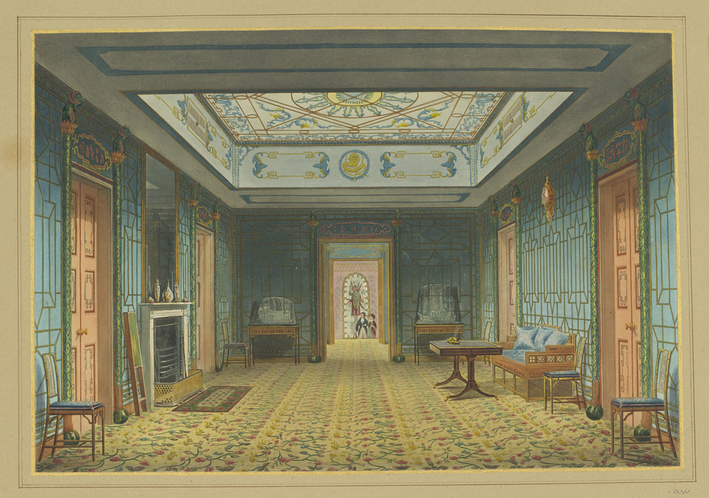 A hand coloured print depicting a view of the north and south galleries in the Royal Pavilion, Brighton. For an earlier state see RCIN 708000.av. Plate 23 of the reissue of Nash's original publication of illustrations of the