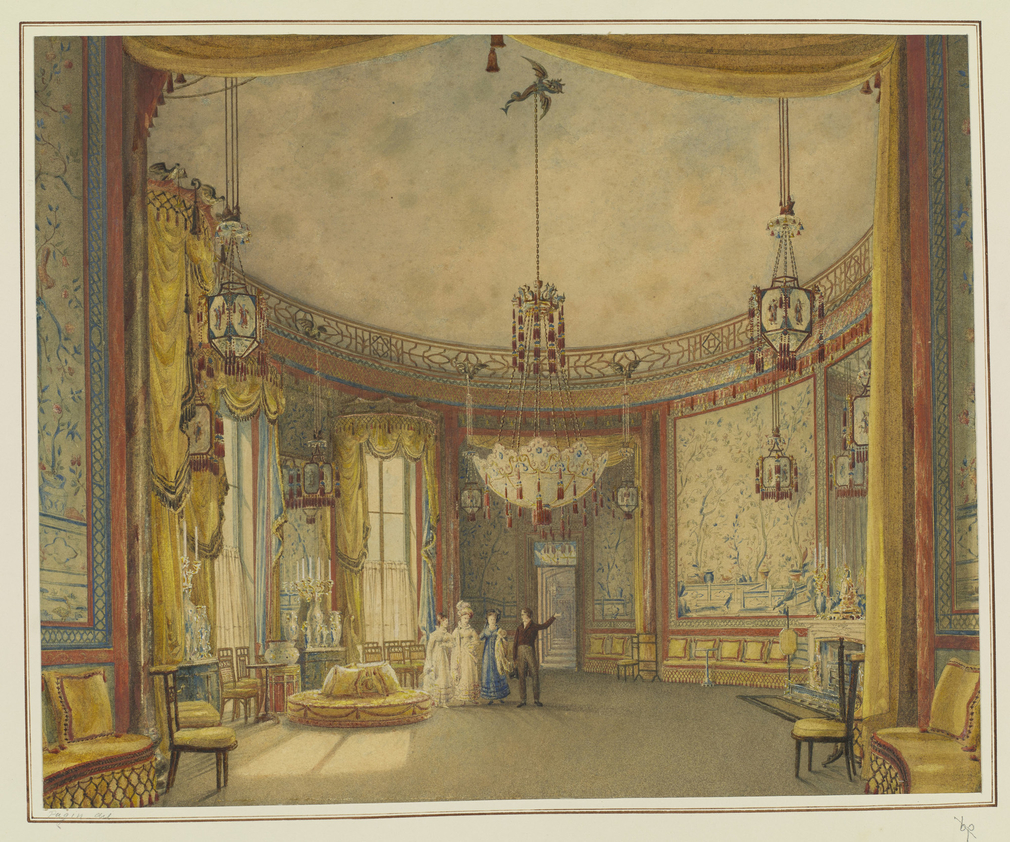 Faintly etched outline, heavily overpainted, showing a detailed interior view of the Salon at Brighton Pavilion, showing four figures in the middle ground centre.