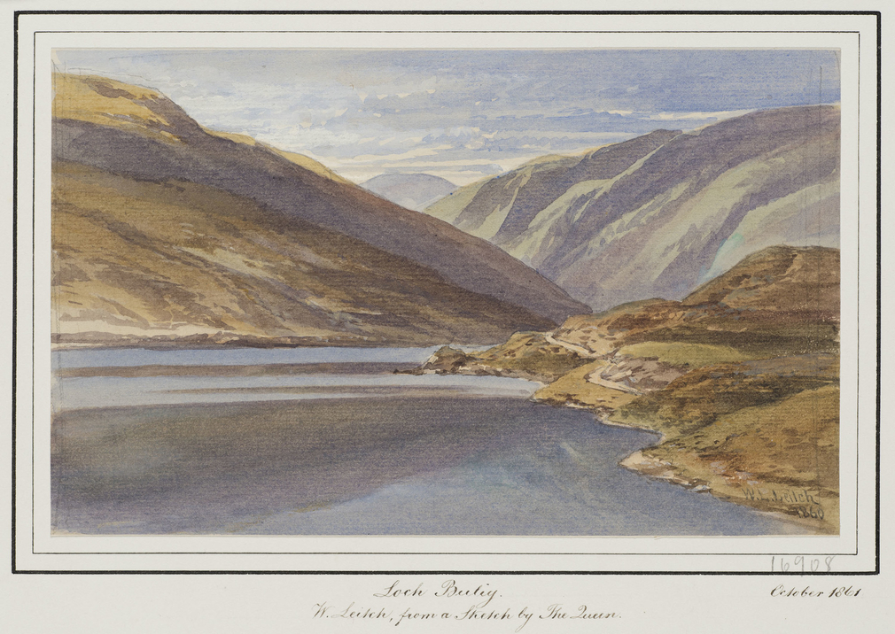 DM 3532: a view of the loch which the Queen visited on 5 September 1860 on her first 'Great Expedition'.  Signed and dated.  Inscribed on mount: 'W. Leitch, from a Sketch by The Queen, October 1861'.