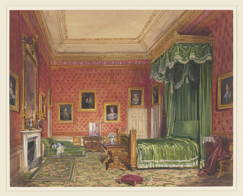 A watercolour view of Victoria and Albert's bedroom at Windsor Castle. Dated onoriginalmount: 1847. On31 March 1847, Queen Victoria wrote in her journal that they had looked at a number of newly rearranged rooms within the private apart