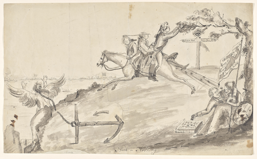 Satire on the American War of Independence. Lord North riding on galloping horse towards high precipice. George III and another follow. Britannia as an old woman, embraced by a man playing dice. On left angel with anchor tied to neck.