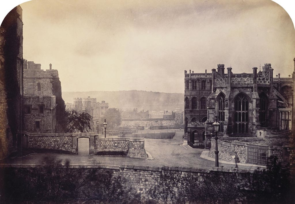 Photograph of the Middle and Lower Wards of Windsor Castle with St George's Chapel on the right and the Military Knight's residences on the left.  Fenton produced a set of at least thirty-one views of Windsor Castle and Home Park in the summer of 1860,