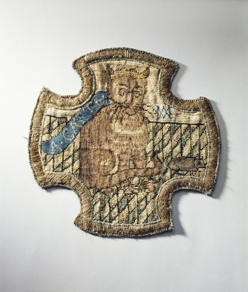 Embroidery of a cat and mouse by Mary, Queen of Scots