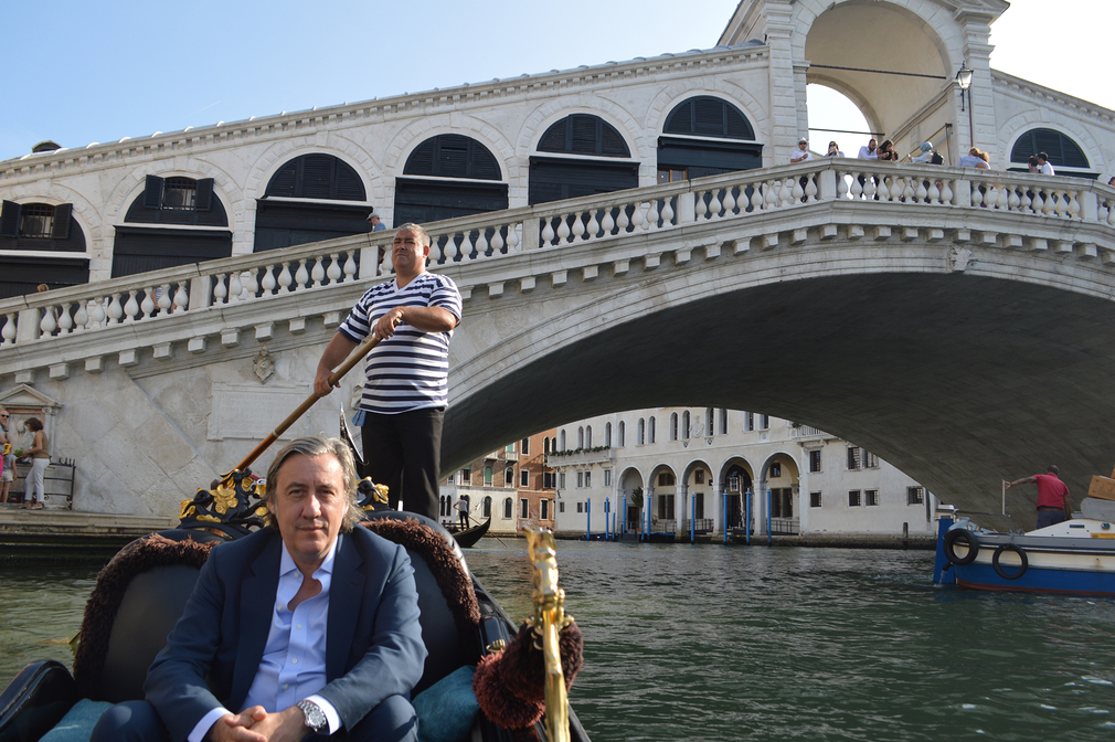 Andrew Graham Dixon in on a gondola in Venice