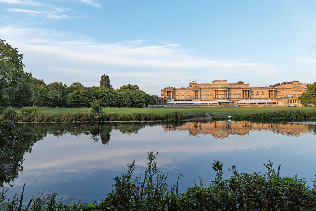 The Buckingham Palace Garden viewed from across the lake.