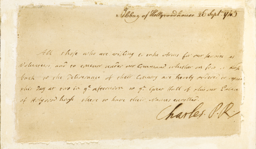 Letter signed by Bonnie Prince Charlie