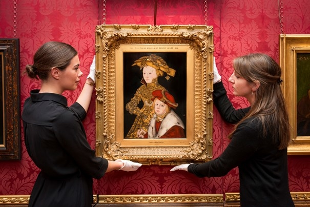 Installation of the painting Portrait of a Lady and her Son by the German master Lucas Cranach the Elder