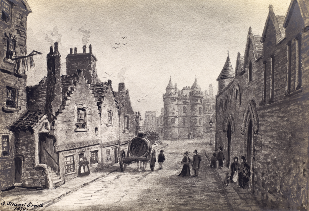 A view of Abbey Strand in 1870, when Canongate locals used the area as a place of leisure.