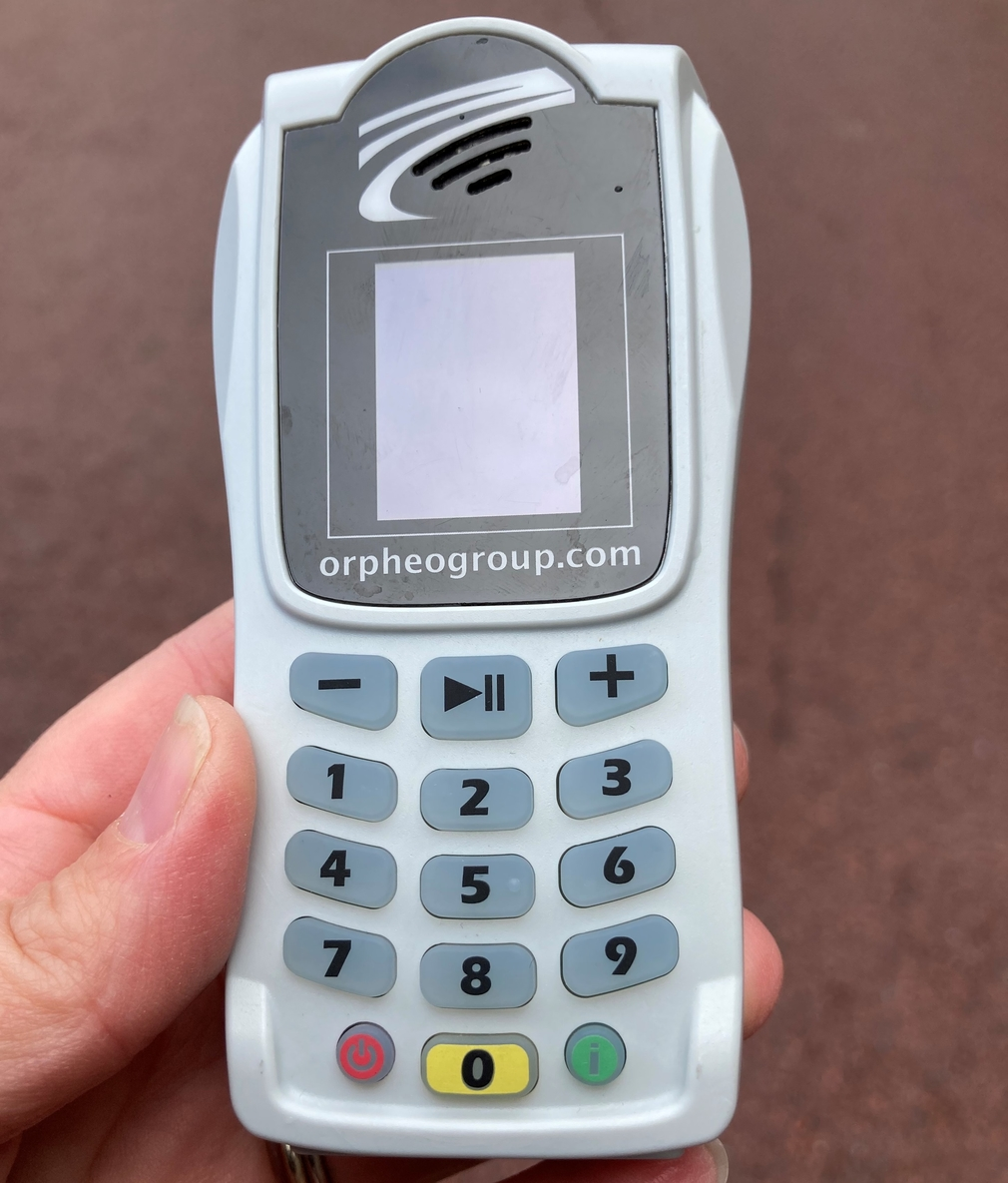Small, hand-held audio player that looks like a mobile phone