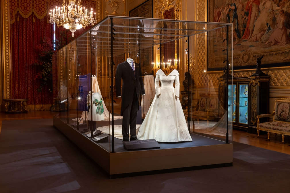 HRH Princess Eugenie's wedding dress, on display in the Grand reception Room at Windsor Castle