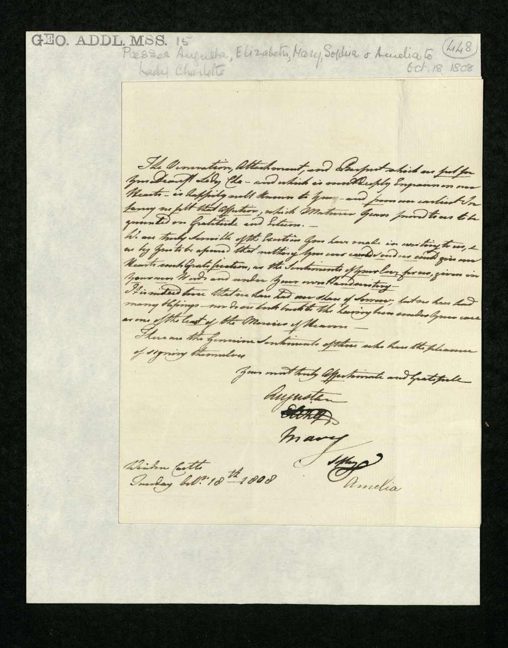Letter mounted on paper signed by the six Princesses