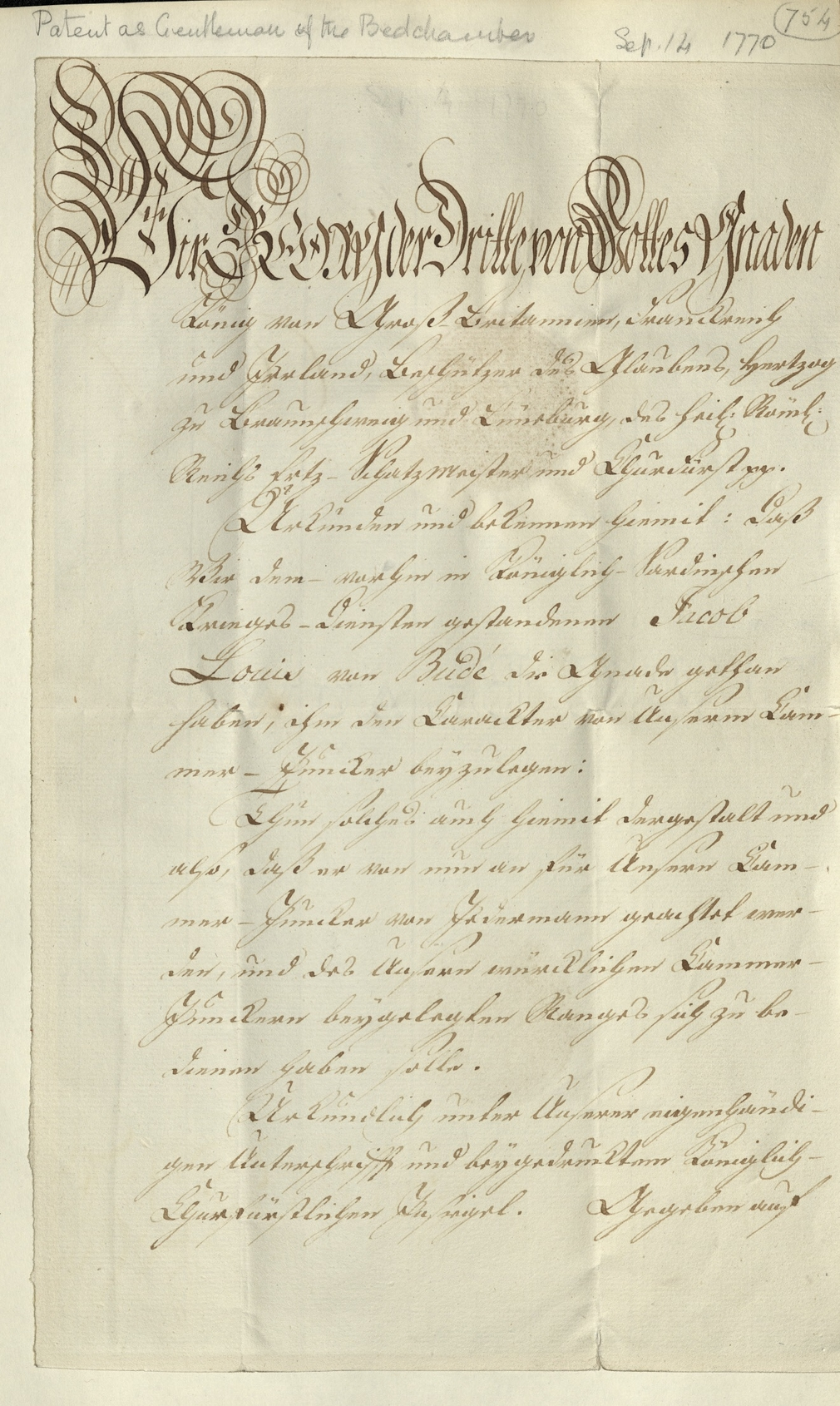 Manuscript pattent relating to General Jacob de Budé