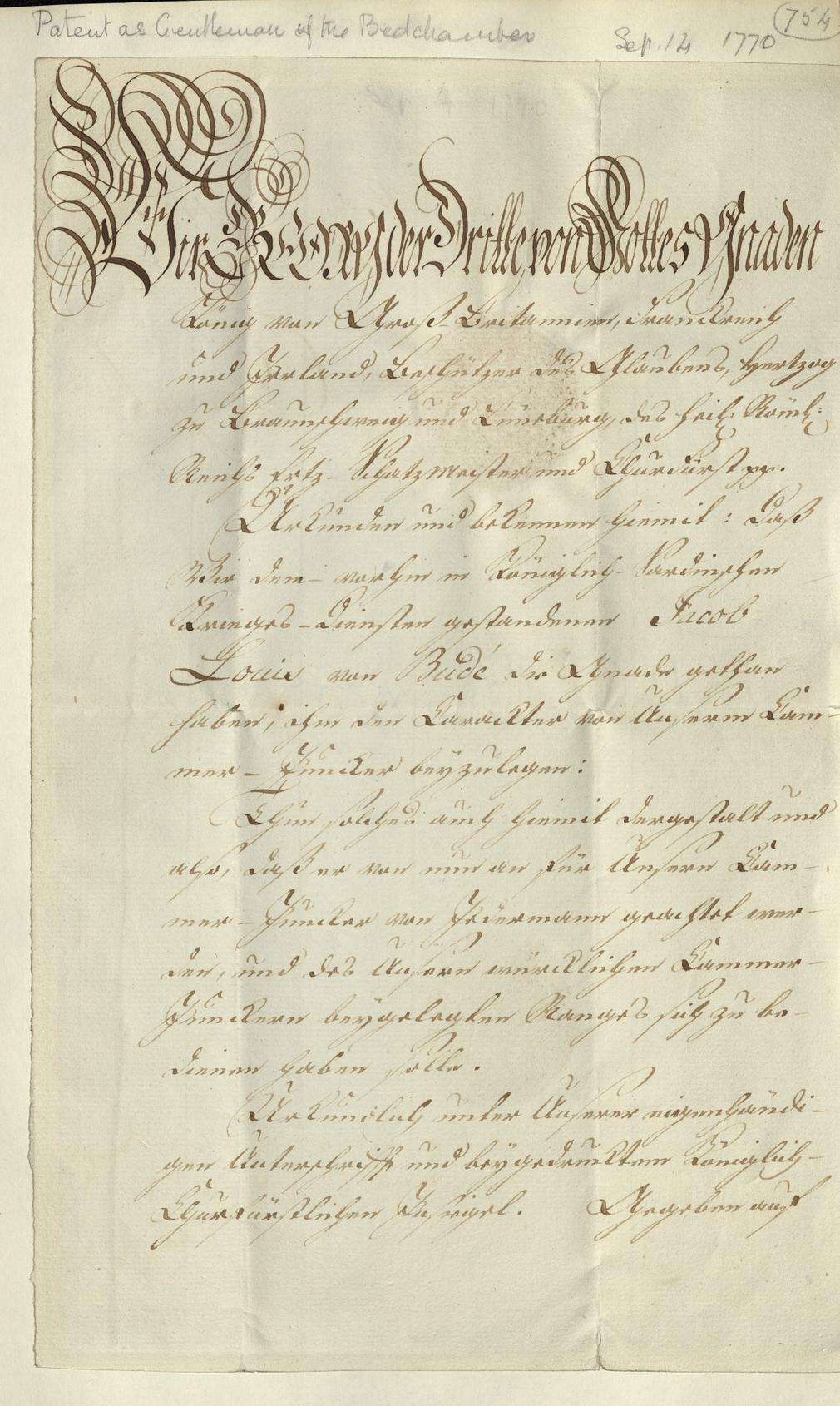 Manuscript pattent relating to General Jacob de Budé