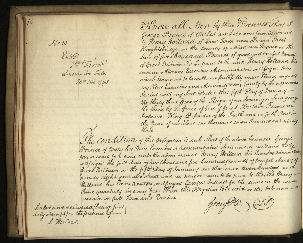 Extract from financial ledger of George IV's debts