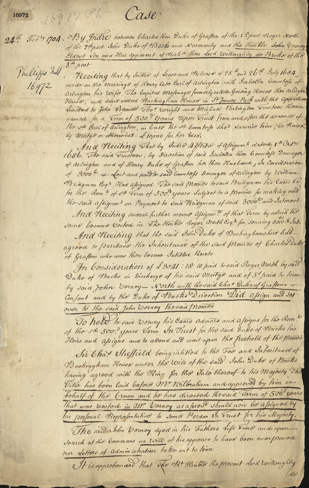 Documents relating to the purchase of Buckingham House by George III