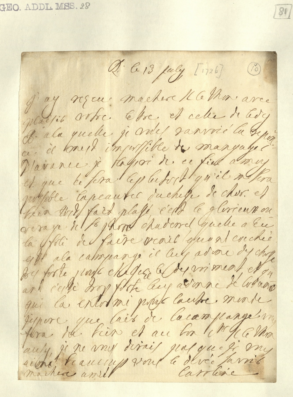 Manuscript document in French written by Caroline, Princess of Wales