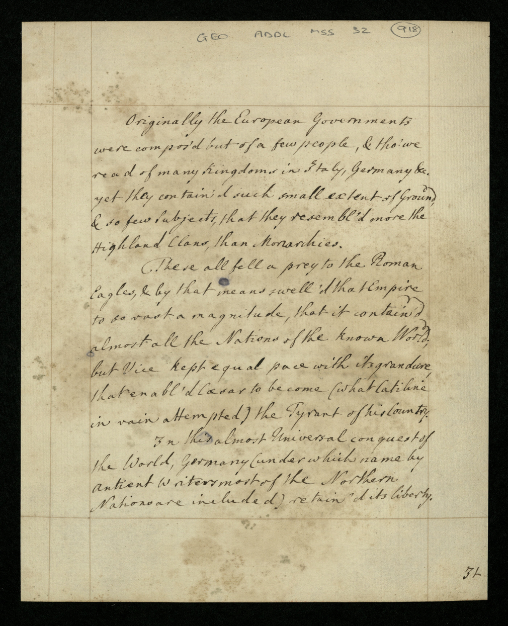 Archive document on Government from the collection of George III's essays