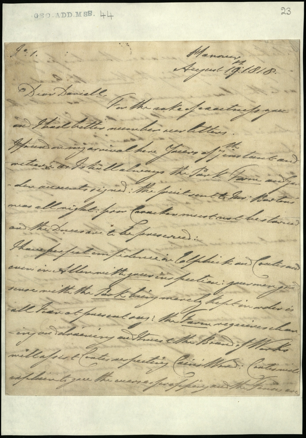 Letter from the Duke of Clarence to J.W.Daniell