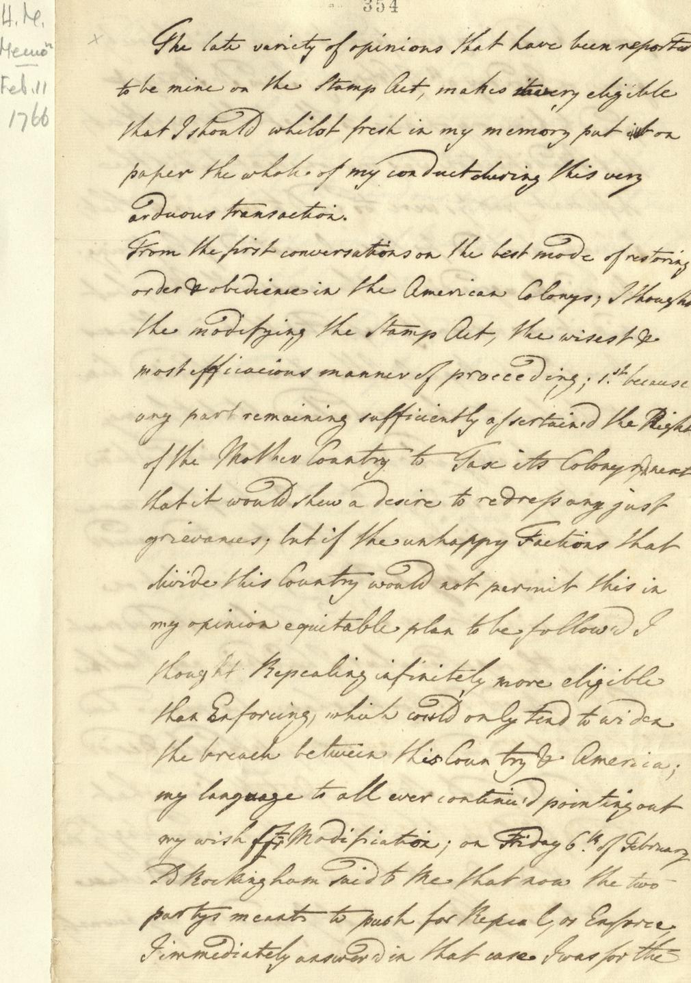 Memorandum on the Stamp Act 1766