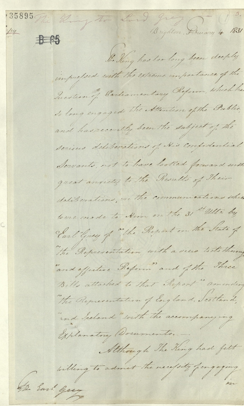 Letter from William IV to Lord Grey, 1831