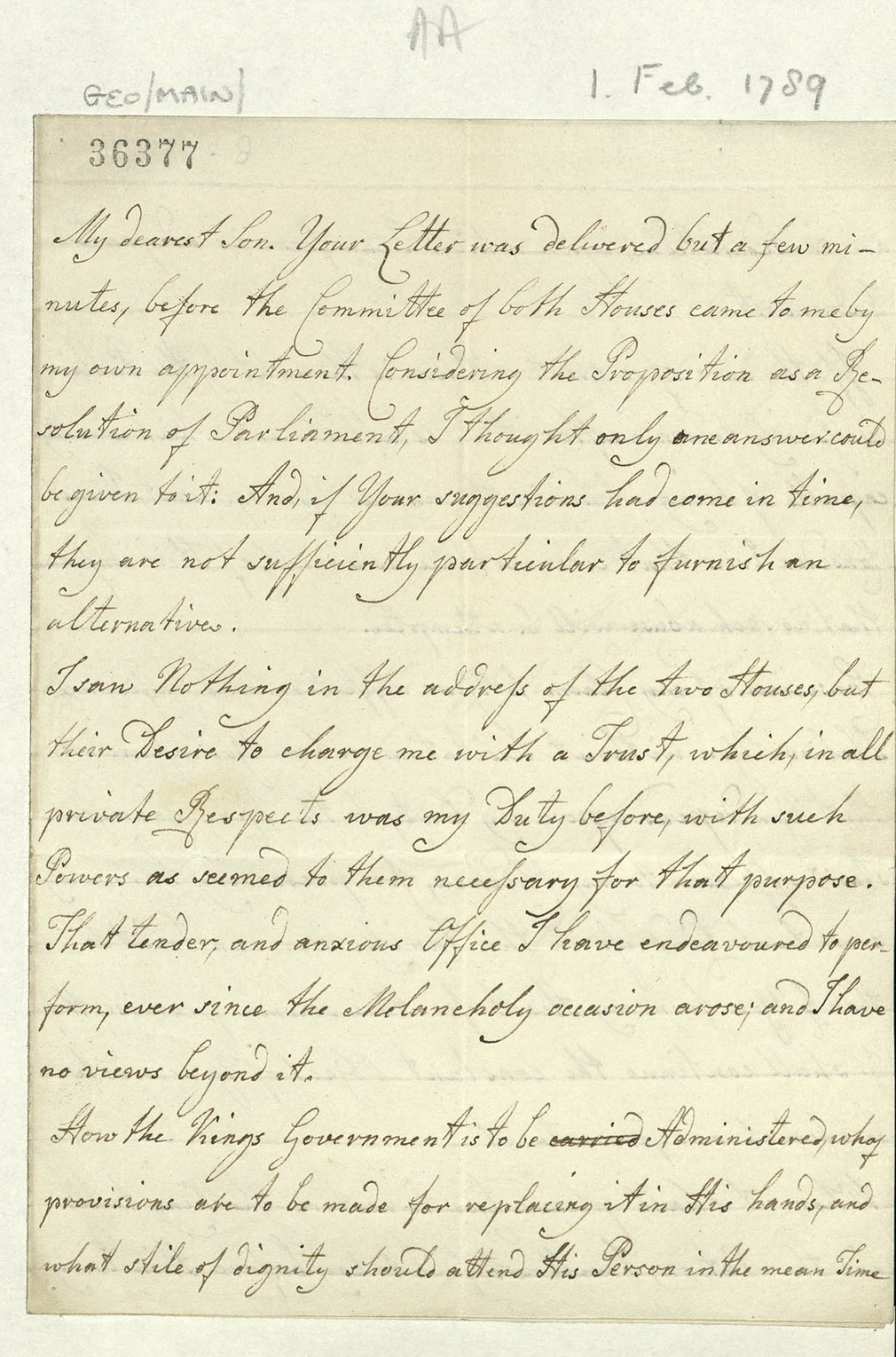 Manuscript letter from Queen Charlotte to George, Prince of Wales