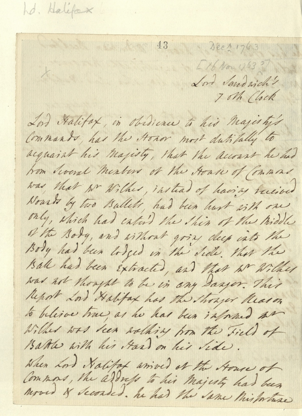 Letter from Lord Halifax to George III about John Wilkes