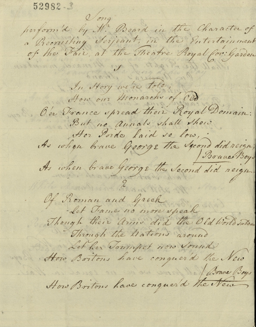 Manuscript document, song performed by Mr Beard