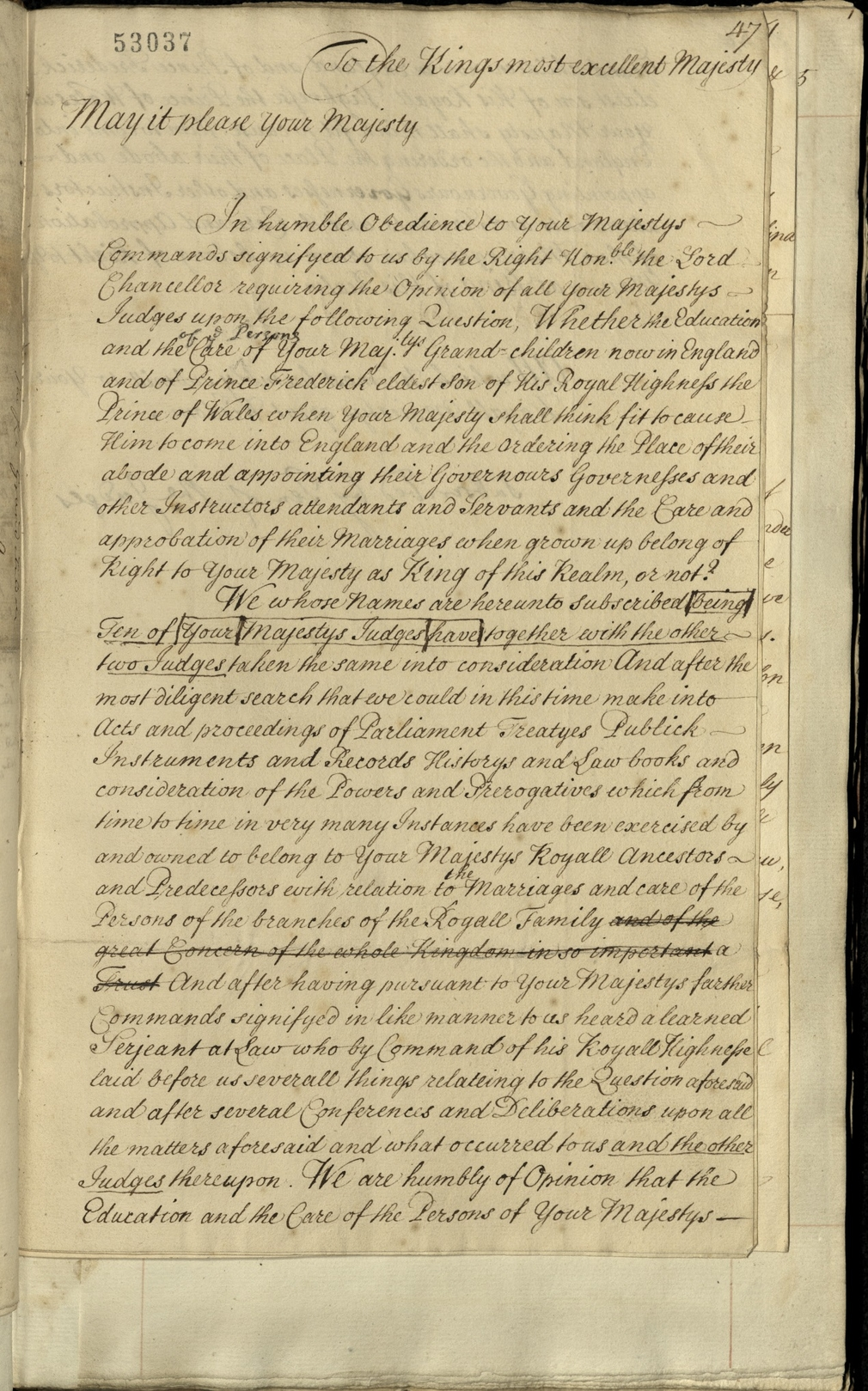 Document from a volume of papers collated by Lord Macclesfield