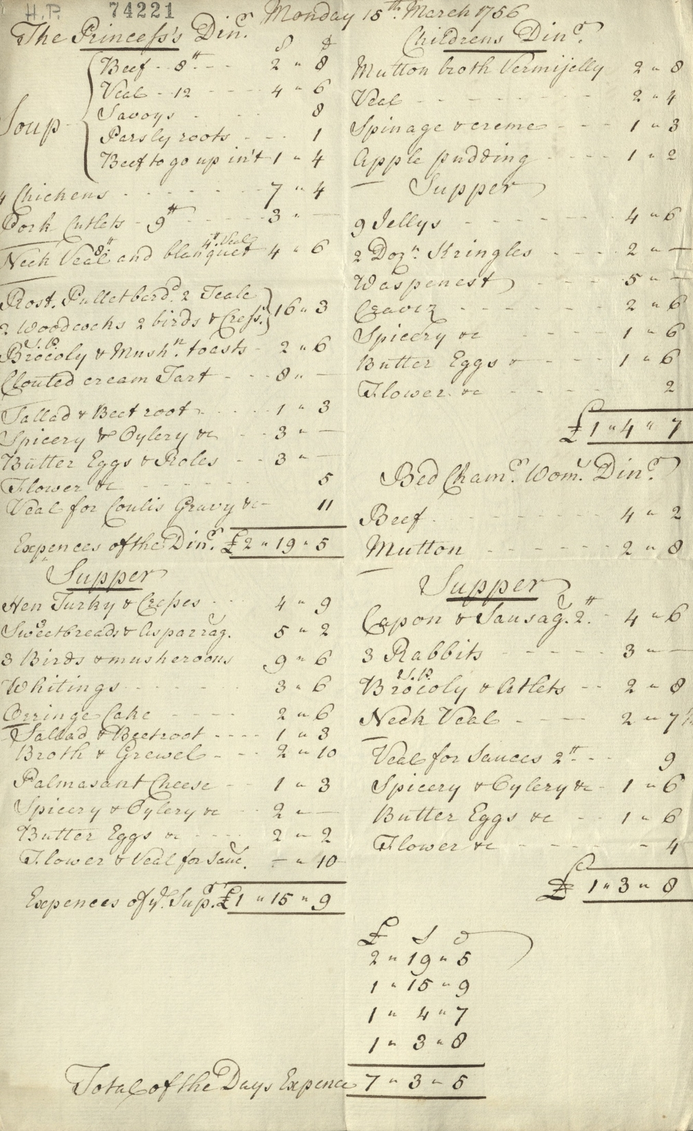 Bill showing cost of one day's food for Princess Augusta