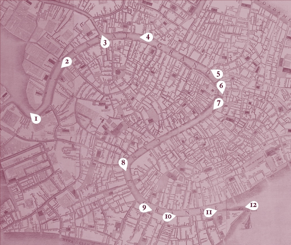 Map showing the points on the Grand Canal that the paintings depict