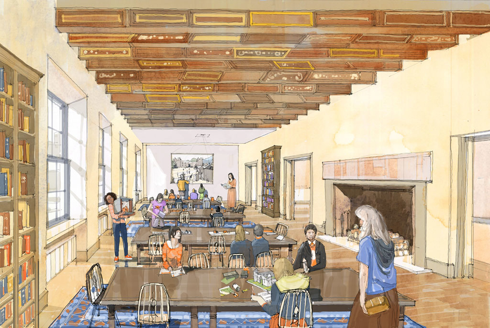 An artist's impression of one of the rooms in the new Learning Centre. The ceiling in this room is made from 17th-century painted beams salvaged from Midhope Castle in the 1960s.