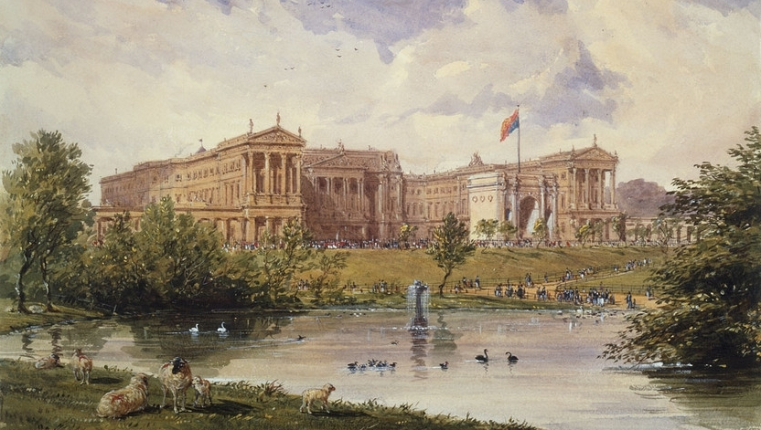 Joseph Nash, The east front of Buckingham Palace from St James Park, 1846