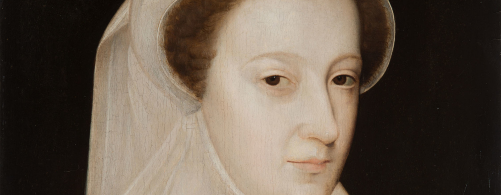 Portrait of Mary, Queen of Scots wearing white veil