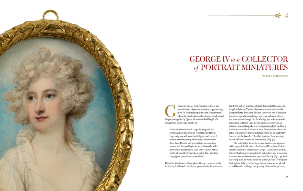 Double page spread from chapter on Miniatures from George IV book