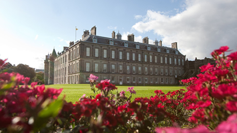 view of the Palace of Holyroodhouse from the gardens