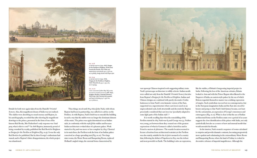 Double page spread from chapter on the Royal Pavilion from George IV book