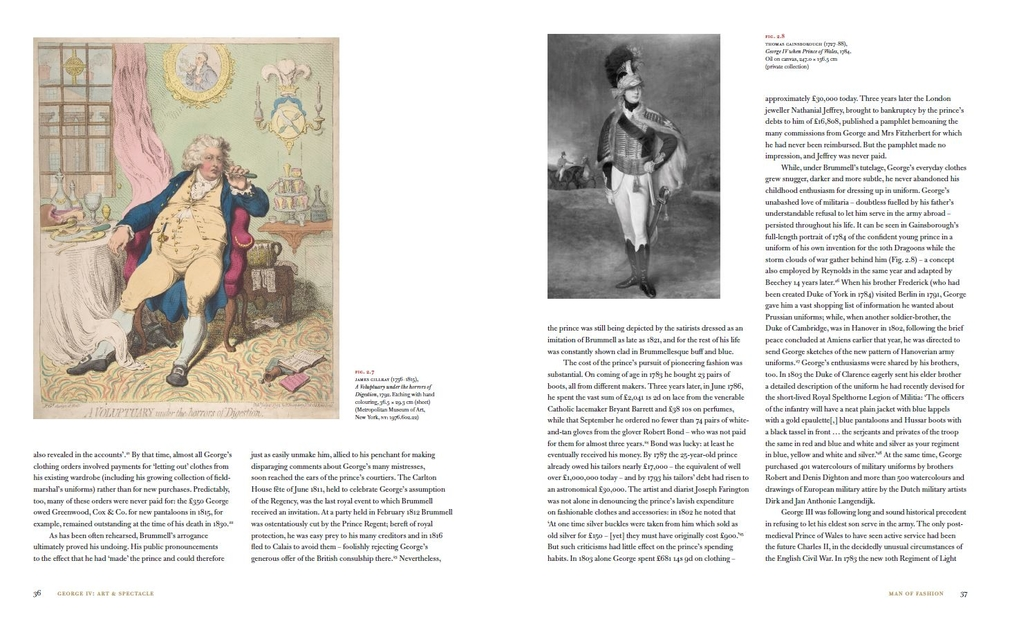 Double page spread from chapter on Man of Fashion from George IV book