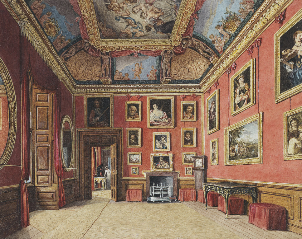 Watercolour of the King's Dressing Room, Windsor, showing room lined with art