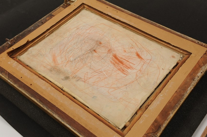 Chalk drawing on the reverse of a portrait of Prince Edward