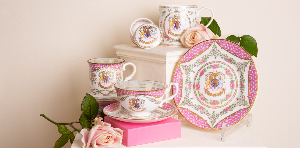 The official commemorative range includes a mug, pillbox, tankard, side plate and teacup and saucer.