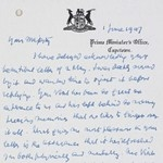 Letter, dated 1 June 1947, from the Prime Minister of South Africa, Field Marshal Smuts, to King George VI following the Royal Family's very successful tour of the Dominion
