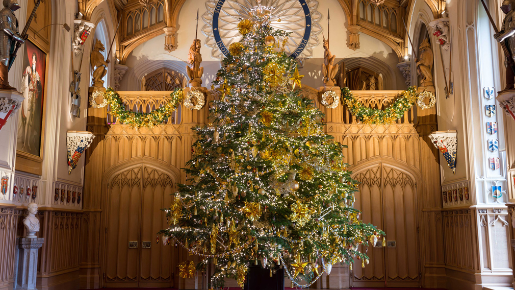 Christmas tree in St George's Hall, Windsor Castle