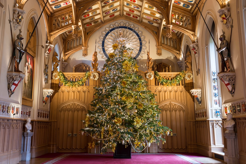 A Christmas tree in St George's Hall, Windsor Castle