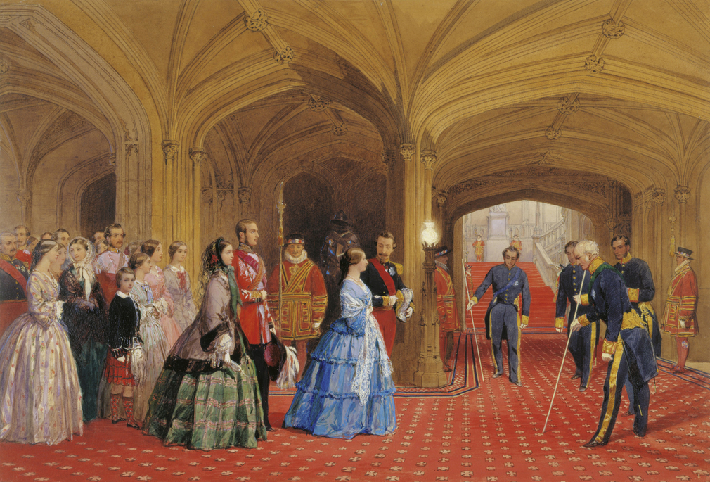 Queen Victoria approaching George IV's Grand Staircase from the State Entrance.