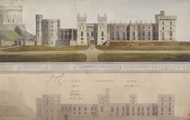 A watercolour by George IV's architect Jeffry Wyatville showing his planned improvements to the exterior of the Castle (above), including the grand new central gateway. It bears the King's signature.
