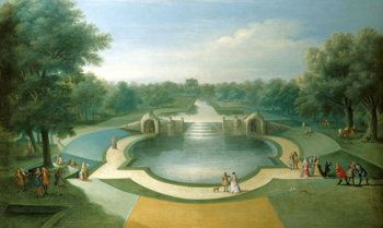 View of gardens and a water feature