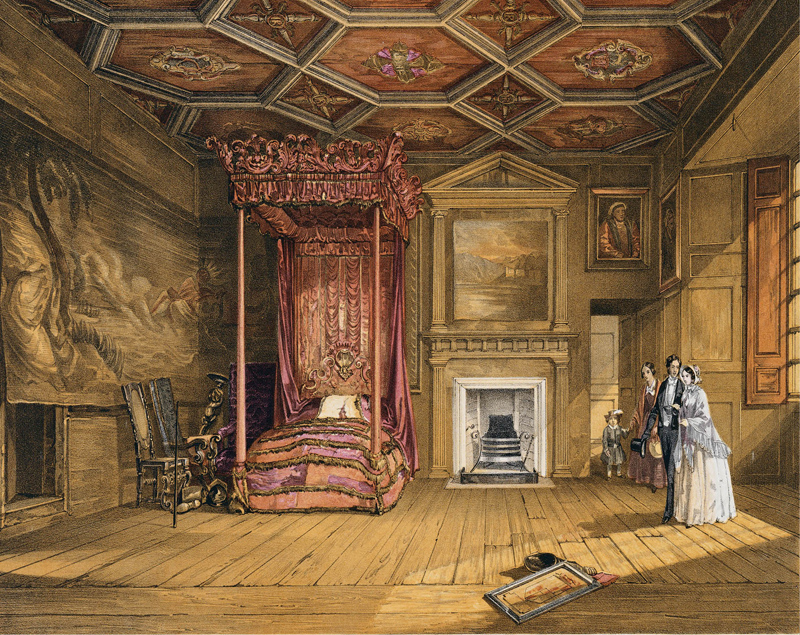 Nineteenth-century visitors in Queen Mary's Bedchamber.