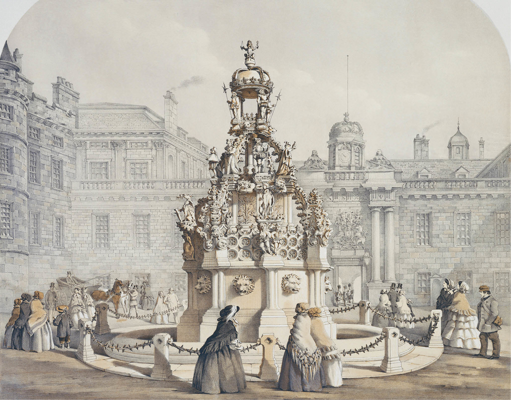 A watercolour showing members of the public gathered around the new fountain in the Forecourt.