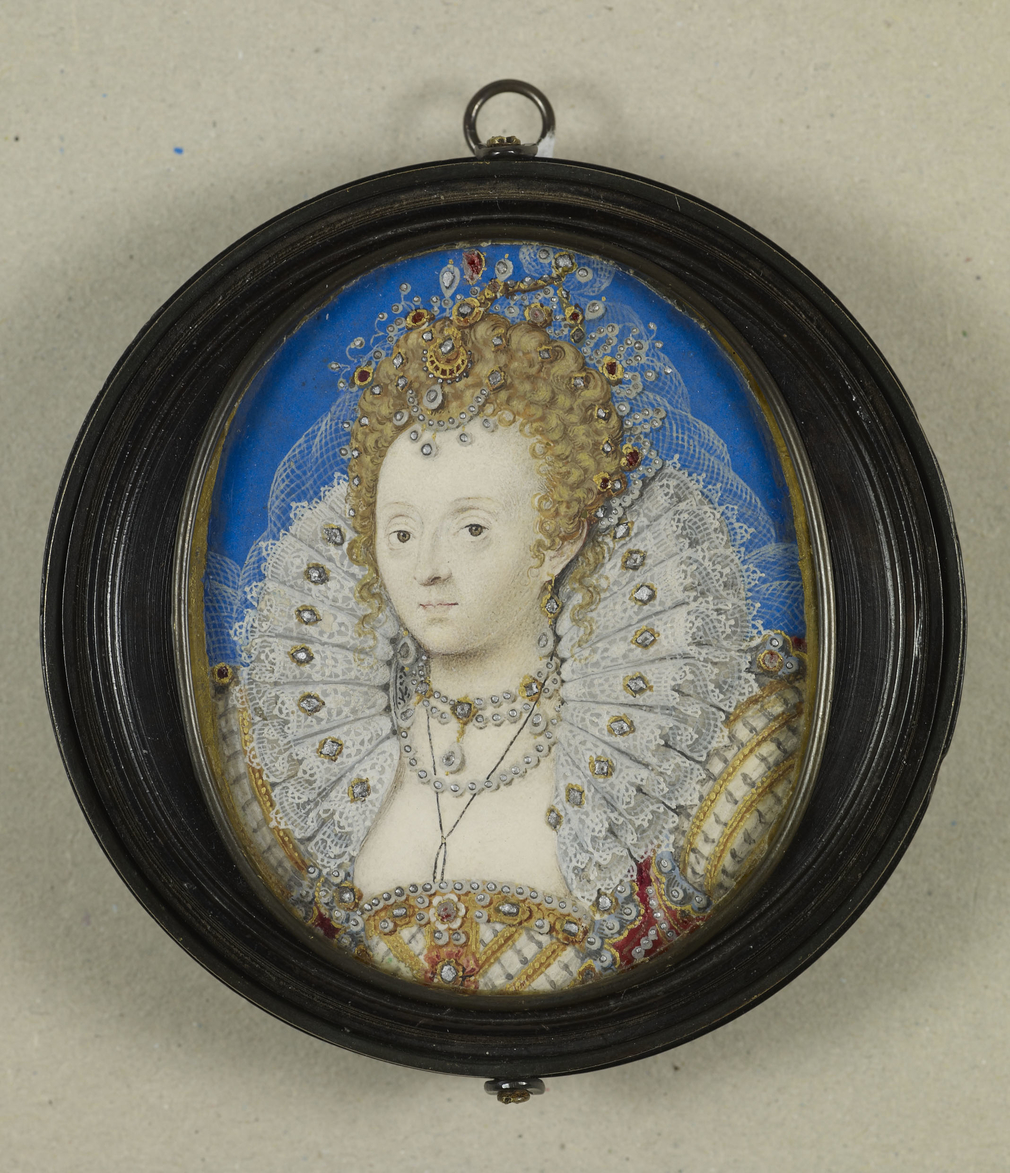 Elizabeth I, c.1580-5, her dress, collar and hair applied diamonds and other precious stones