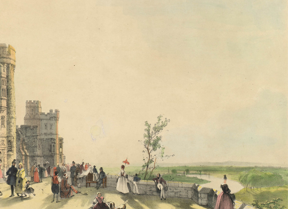 Visitors are shown strolling along the North Terrace in this 19th-century watercolour.
